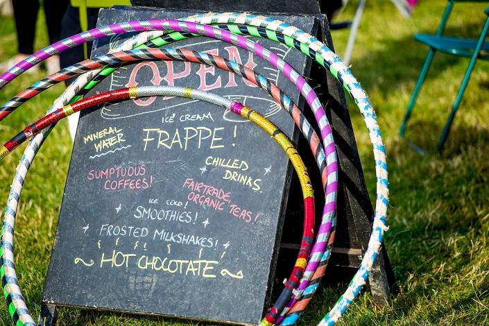 Menu board and colourful hoops