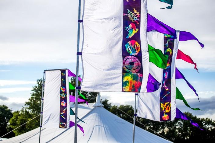 Vividly coloured flags